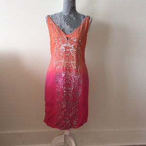 NWT Yoana Baraschi Pink orange sequined dress sz 6